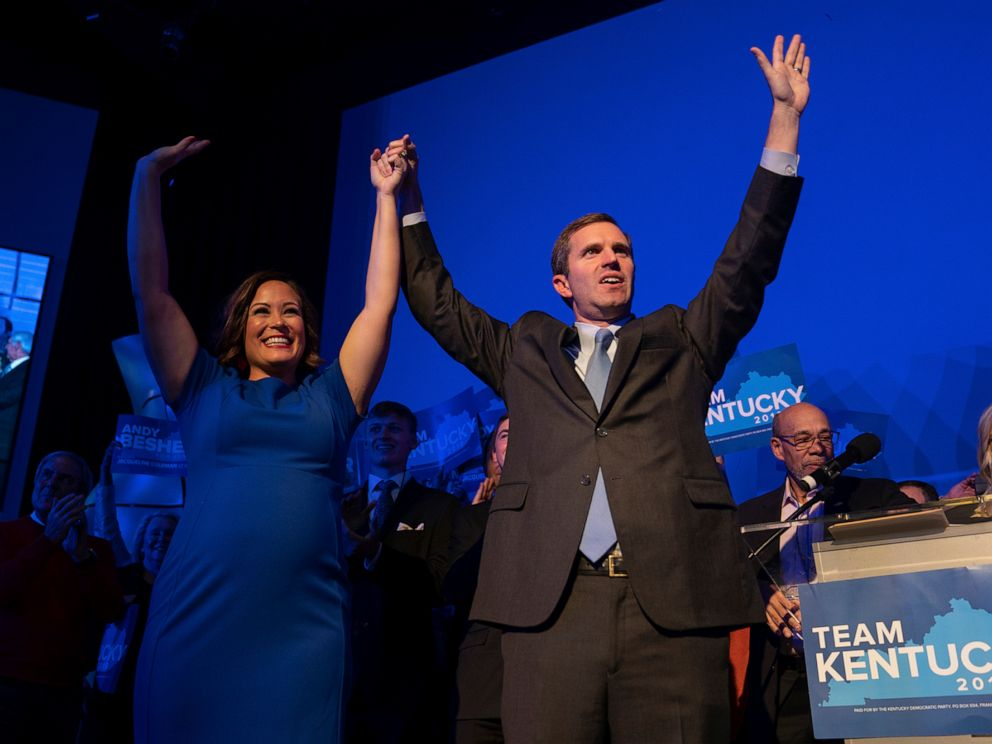 PHOTO: Democratic gubernatorial candidate and Kentucky Attorney General Andy Beshear, along with lieutenant governor candidate Jacqueline Coleman, acknowledge supporters, Tuesday, Nov. 5, 2019, in Louisville, Ky.