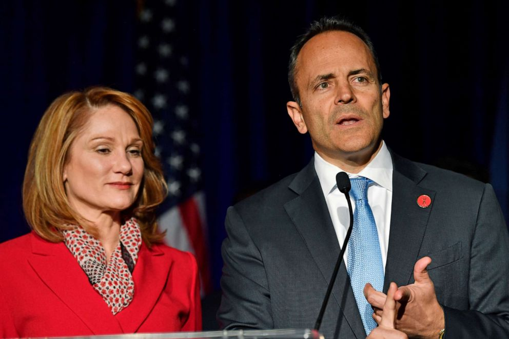 PHOTO: Kentucky Gov. Matt Bevin, right, and his wife, Glenna, speak to supporters gathered at a Republican Party event in Louisville, Ky., Tuesday, Nov. 5, 2019. Bevin did not concede the race to his opponent, electing to wait and see what happens.