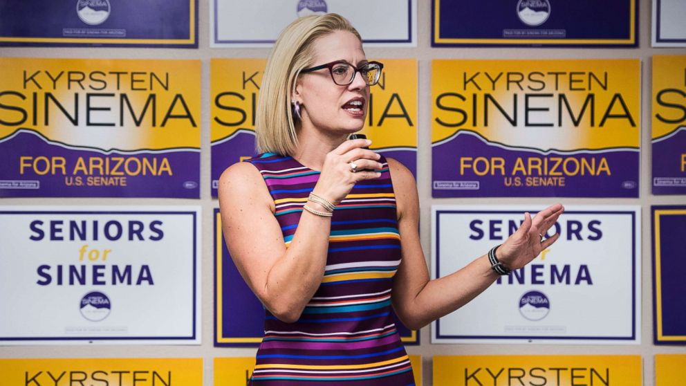 Rep. Kyrsten Sinema speaks to supporters at the United Food and Commercial Workers union in Phoenix, Ariz., Oct. 21, 2018.