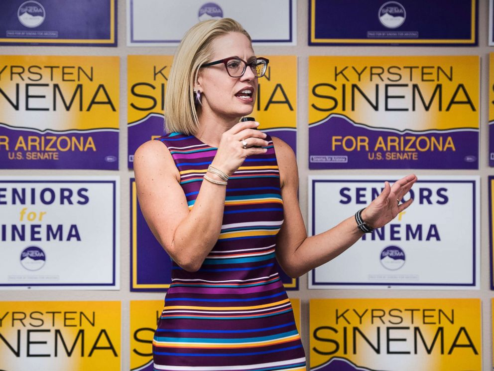 PHOTO: Rep. Kyrsten Sinema speaks to supporters at the United Food and Commercial Workers union in Phoenix, Ariz., Oct. 21, 2018.
