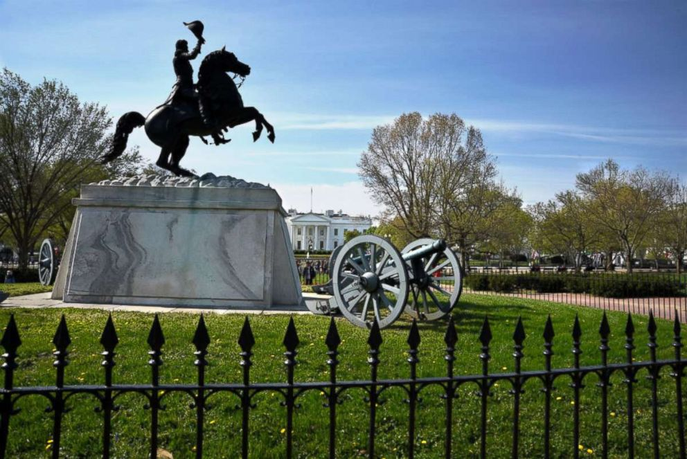 PHOTO: A statue of Marquis de Lafayette faces the White House from its base in Lafayette Square in Washington, D.C., April 22, 2018.