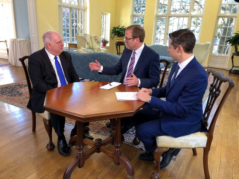 "Maryland Gov. Larry Hogan is interviewed by ABC News Chief White House Correspondent Jonathan Karl and ABC News Political Director Rick Klein for the ""Powerhouse Politics"" podcast, March 12, 2019."