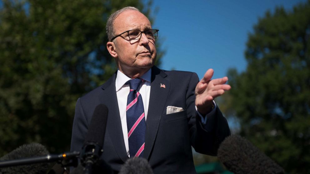 White House National Economic Advisor Larry Kudlow speaks with members of the press outside the White House in Washington, Oct. 12, 2018.