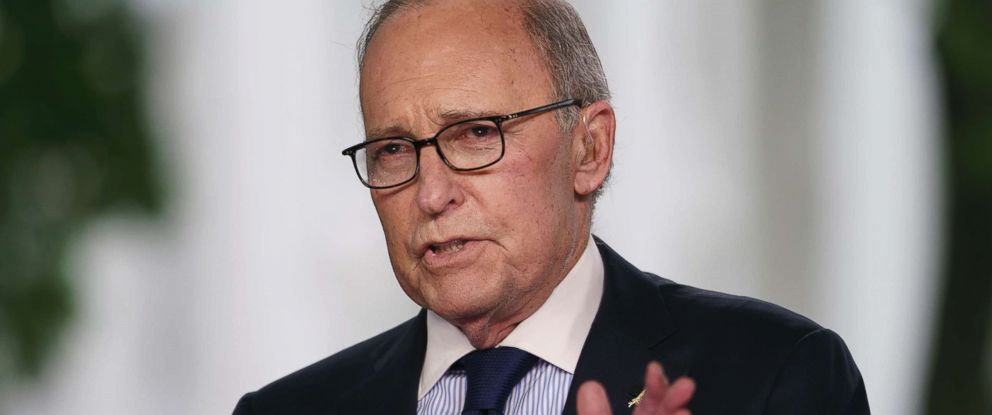 PHOTO: White House chief economic adviser Larry Kudlow speaks during a television interview outside the West Wing of the White House, in Washington, D.C., May 18, 2018.
