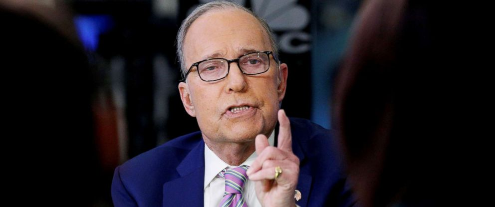 """PHOTO: Lawrence """"Larry"""" Kudlow appears on CNBC at the New York Stock Exchange in New York on March 7, 2018."""
