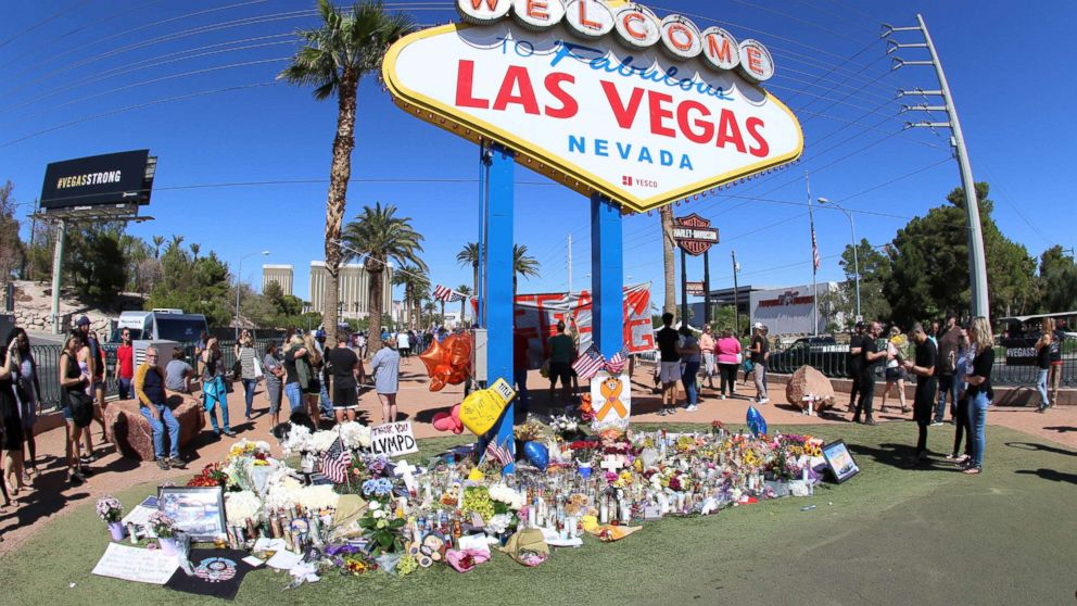 Memorials and tributes are pictured Oct. 6, 2017 in the aftermath of the mass shooting on the Las Vegas Strip on Oct. 1st, 2017, in Las Vegas, Nevada.