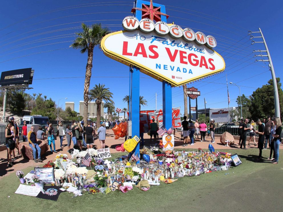 PHOTO: Memorials and tributes are pictured Oct. 6, 2017, in the aftermath of the mass shooting on the Las Vegas Strip on Oct. 1st, 2017, in Las Vegas.