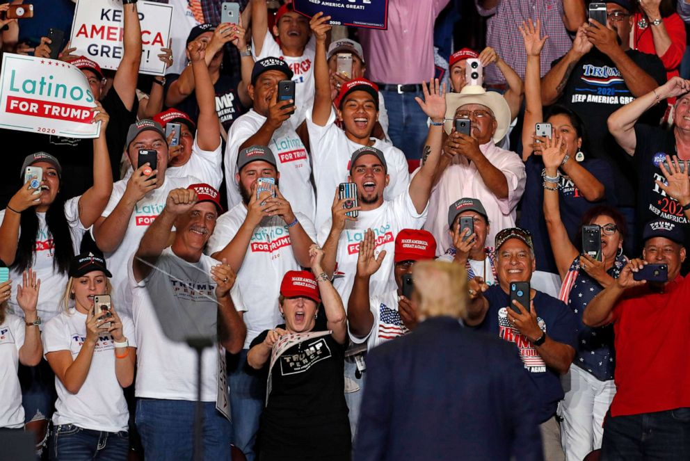 PHOTO: President Donald Trump is cheered by supporters upon his arrival to a campaign rally at the Santa Ana Star Center, Sept. 16, 2019, in Rio Rancho, N.M.