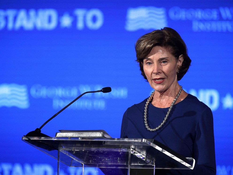 PHOTO: Former U.S. first lady Laura Bush speaks during a conference at the U.S. Chamber of Commerce, June 23, 2017, in Washington, DC.