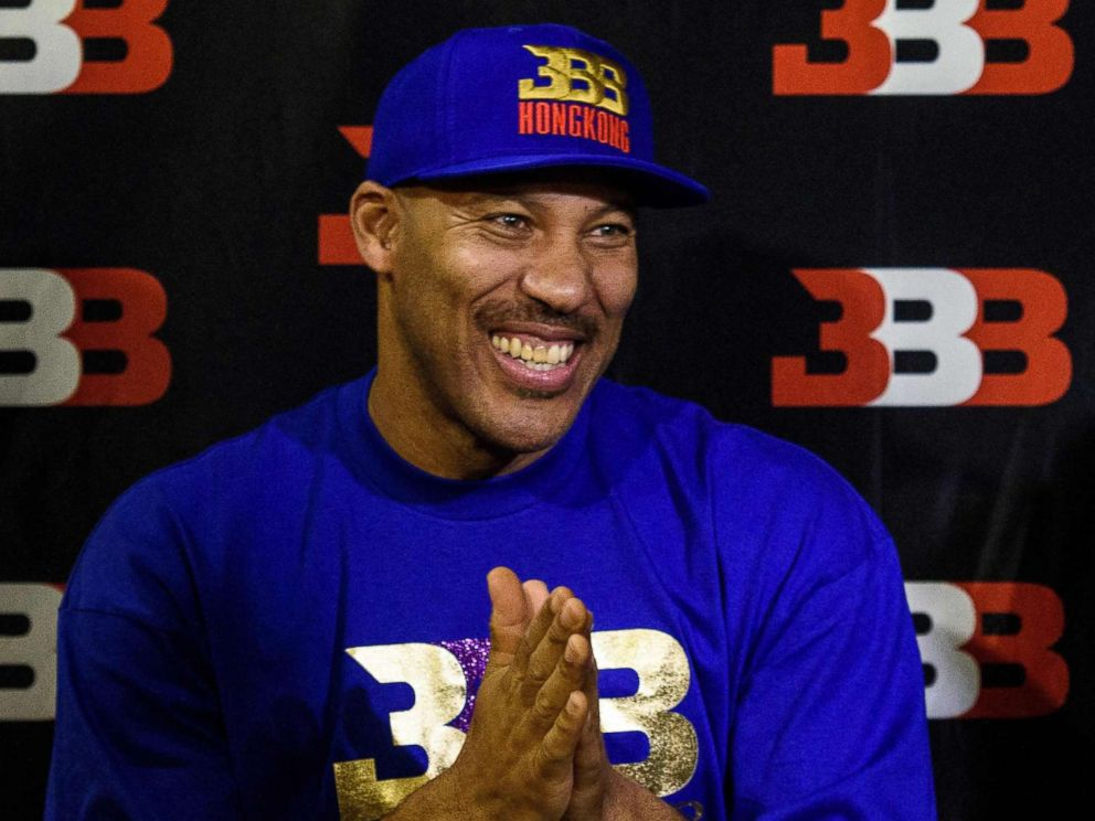 PHOTO: LaVar Ball, father of basketball player LiAngelo Ball and the owner of the Big Baller brand, reacts during a promotional event in Hong Kong, Nov. 14, 2017.