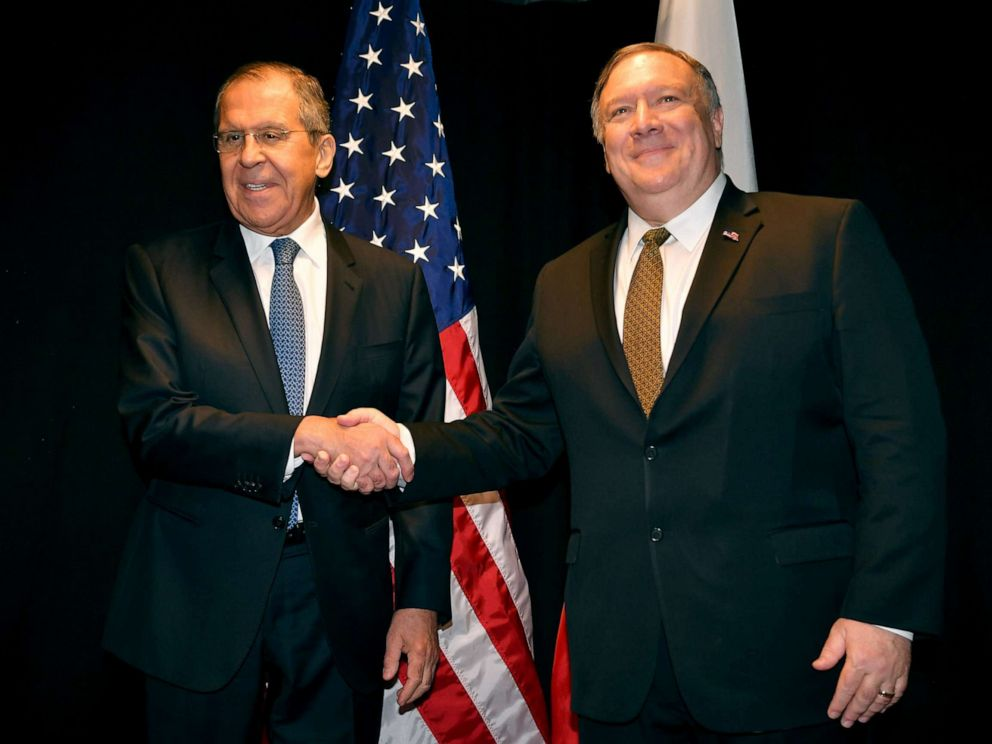 PHOTO: Secretary of State Mike Pompeo, right, and Russias Foreign Minister Sergei Lavrov meet on the sidelines of the Arctic Council Ministerial Meeting, May 6, 2019, in Rovaniemi, Finland.