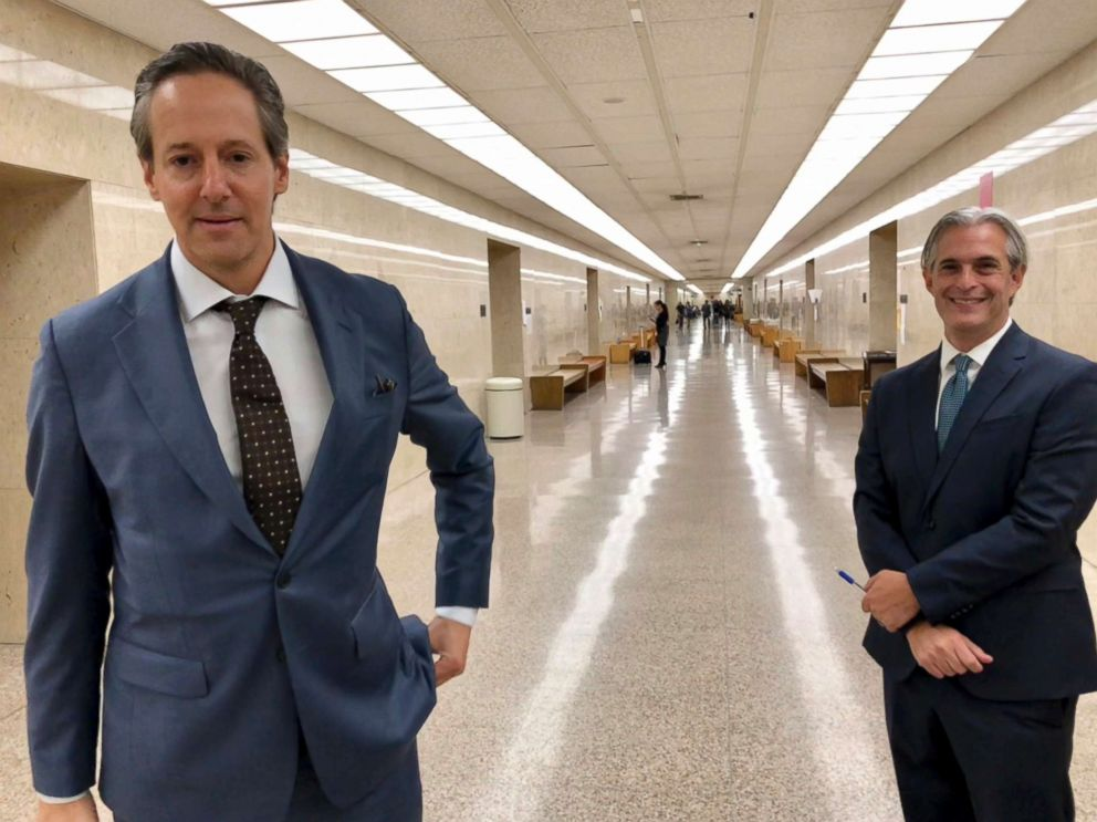 PHOTO: Jason Frank, right, and his attorney Eric George leave a Los Angeles County Superior Court, Oct. 22, 2108.