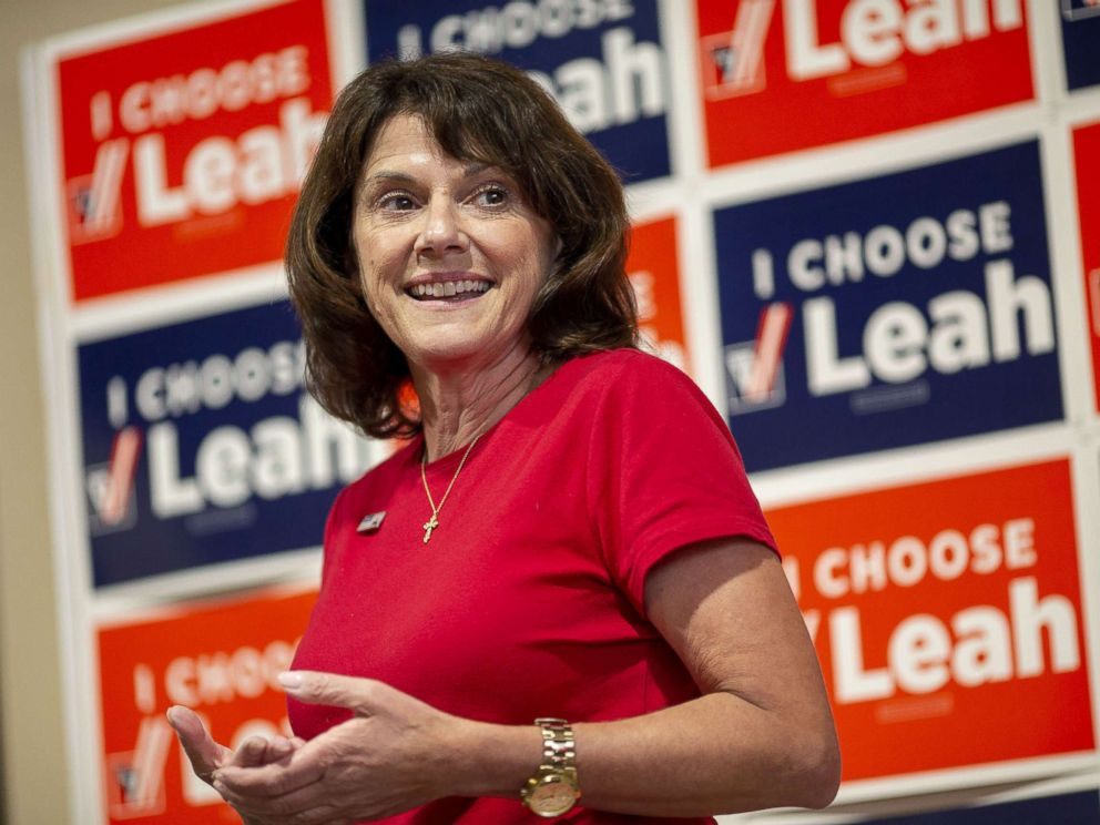 PHOTO: Leah Vukmir, a Republican Senate candidate from Wisconsin, speaks during a campaign stop in Elkhorn, Wisconsin, Aug. 13, 2018.