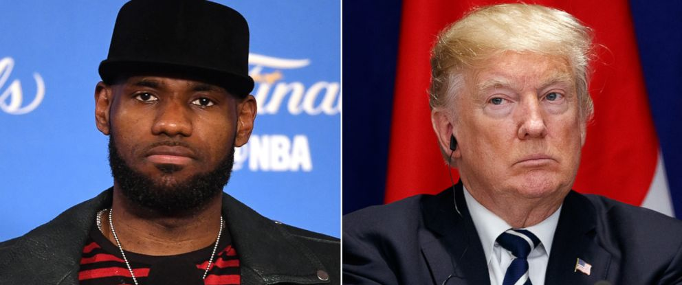 PHOTO: Pictured (L-R) are Lebron James of the Cleveland Cavaliers in Oakland, Calif., June 12, 2017 and President Donald Trump in New York, Sept. 21, 2017.