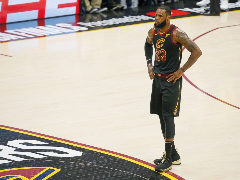 PHOTO: LeBron James #23 of the Cleveland Cavaliers reacts against the Golden State Warriors during Game Four of the 2018 NBA Finals at Quicken Loans Arena on June 8, 2018 in Cleveland, Ohio.
