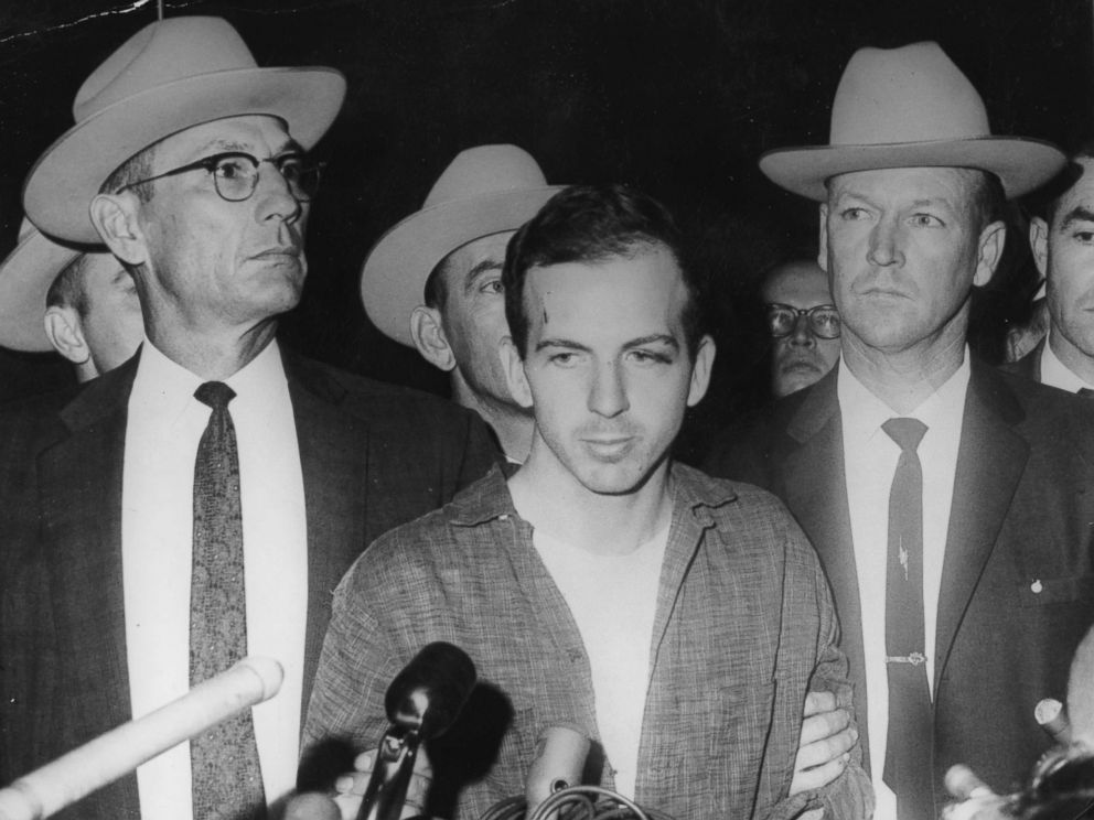 PHOTO: Alleged John F. Kennedy assassin Lee Harvey Oswald during a press conference shortly after his arrest, November 22, 1963 in Dallas.