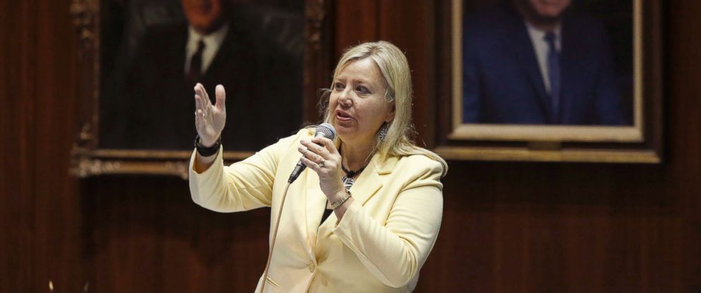 PHOTO: Rep. Debbie Lesko, R-Ariz., answers questions about an amendment to a bill at the Arizona Capitol in Phoenix, April 17, 2014.