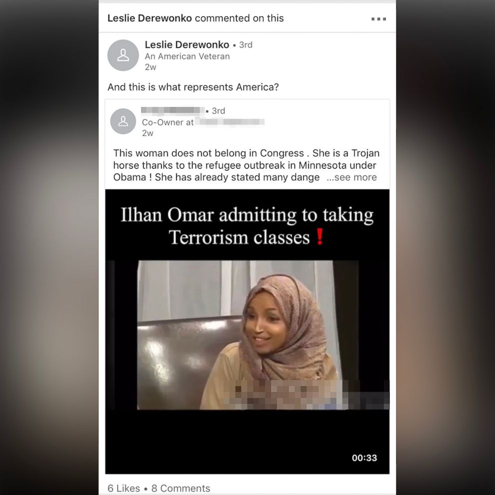 PHOTO: ICE agent Leslie Derewonkos LinkedIn post promoting a misleading video of Rep. Ilhan Omar as seen in an ABC News screen capture from March 8, 2018.