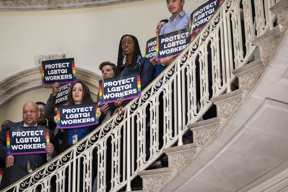 PHOTO: Activists rally in support of LGBTQ rights at New York City Hall on Oct. 8, 2019 in New York City.
