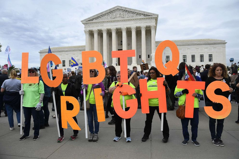 PHOTO: Demonstrators in favor of LGBT rights rally outside the US Supreme Court in Washington, D.C., Oct. 8, 2019.