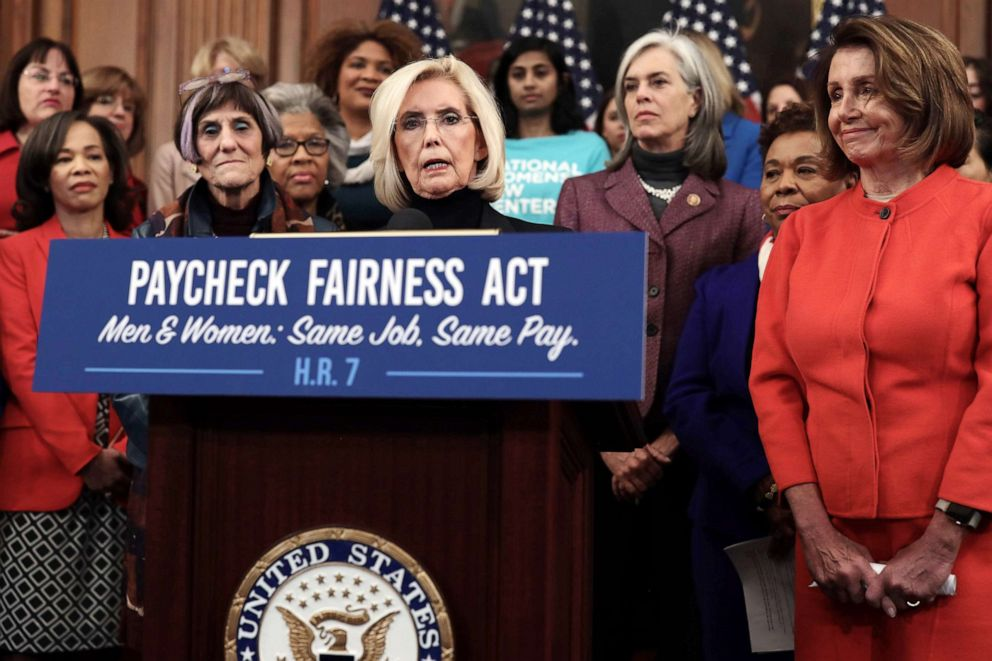 PHOTO: Womens equality activist Lilly Ledbetter speaks as U.S. Speaker of the House Rep. Nancy Pelosi, right, and other Democratic Congressional members listen during a news conference at the U.S. Capitol, Jan. 30, 2019 in Washington, D.C.