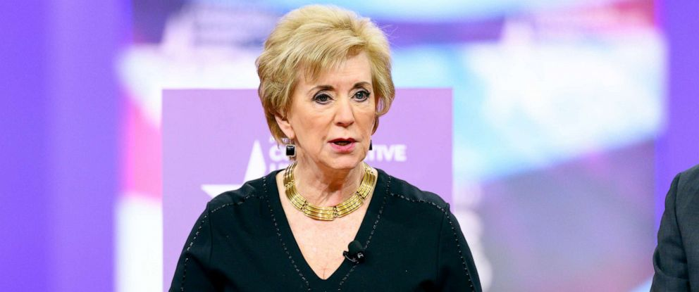 PHOTO: Linda McMahon, Administrator of the Small Business Administration, speaks during the American Conservative Unions Conservative Political Action Conference (CPAC) at the Gaylord National Resort & Convention Center in Oxon Hill, MD, Feb. 28, 2019.