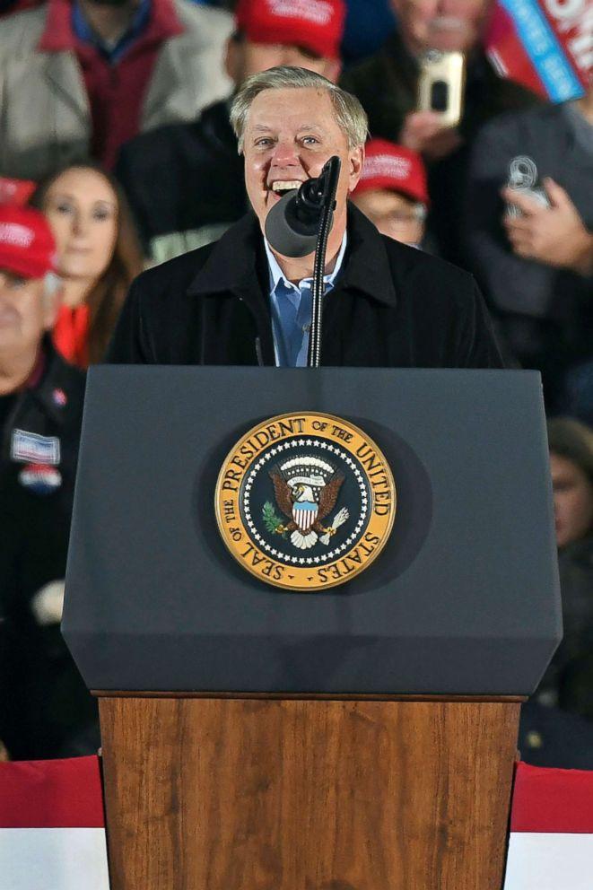 Sen. Lindsey Graham speaks during a rally in Tupelo, Miss., Nov. 26, 2018.