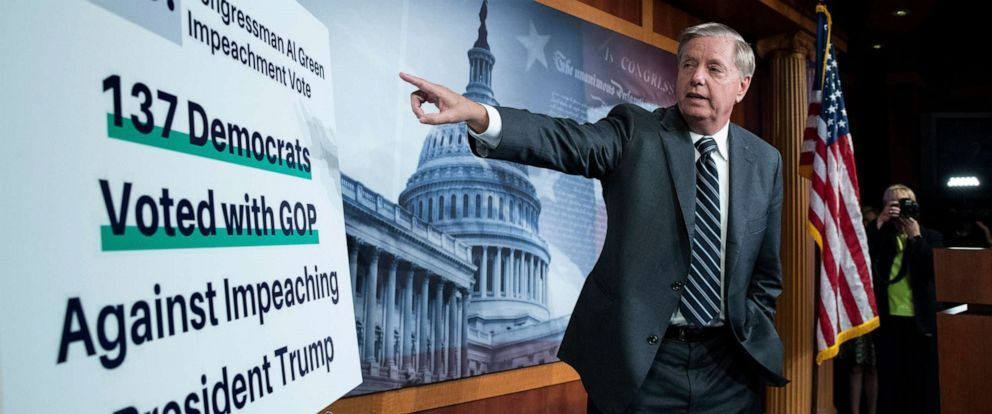 PHOTO: Republican Senator from South Carolina Lindsey Graham points to a placard while holding a news conference on Capitol Hill in Washington, on Oct. 24, 2019.