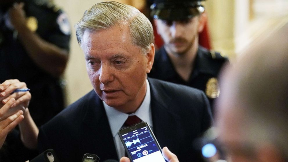Sen. Lindsey Graham  speaks to reporters at the U.S. Capitol, October 5, 2018, in Washington, D.C.