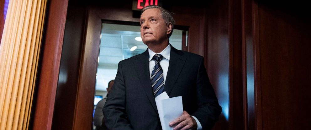 PHOTO: Sen. Lindsey Graham arrives for a news conference in Capitol on the Countering Turkish Aggression Act of 2019, that imposes sanctions on Turkey in response to hostile actions in Syria on Oct. 17, 2019.