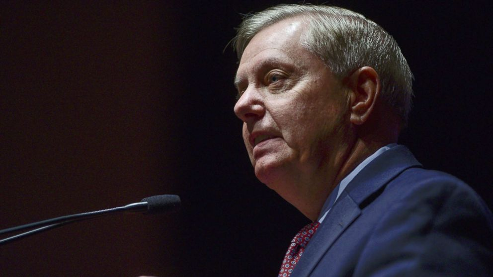 Senator Lindsey Graham speaks during an event at the U.S. Capitol Visitor Center, May 17, 2018 in Washington, D.C.