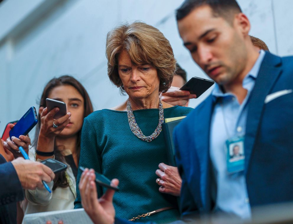PHOTO: Republican Senator from Alaska Lisa Murkowski is surrounded by the media before viewing documents in the Senate Sensitive Compartmented Information Facility (SCIF) in the U.S. Capitol in Washington, D.C., Oct. 04, 2018.