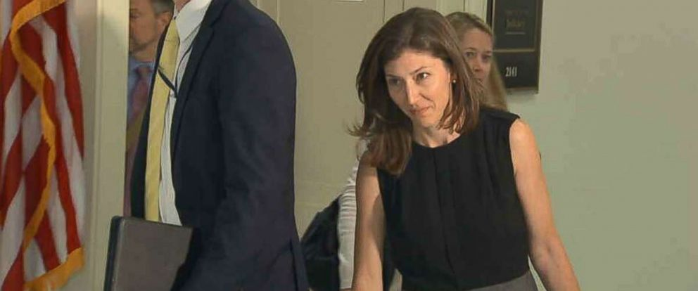 Lisa Page, a former senior FBI lawyer, exits a closed-door meeting on Capitol Hill on Friday, July 13, 2018.