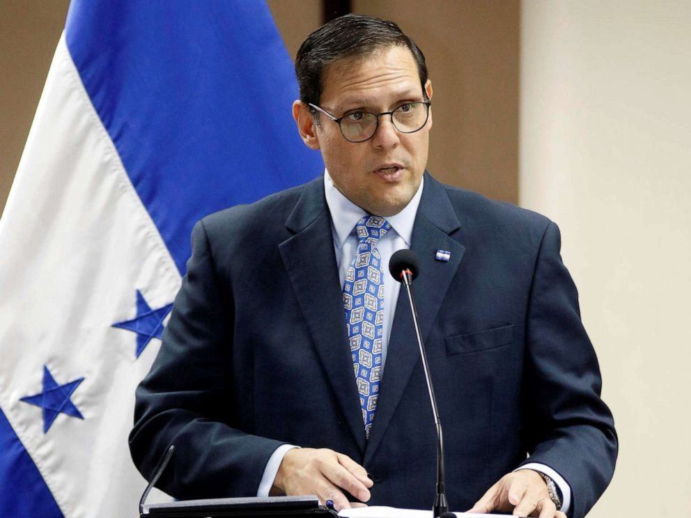 PHOTO: Honduran Foreign Minister Lisandro Rosales speaks during a meeting with executives of Azunoza to sign an agreement to give jobs to 100 Honduran migrants that returned from USA and Mexico, in Tegucigalpa, Honduras, Sept. 17, 2019.