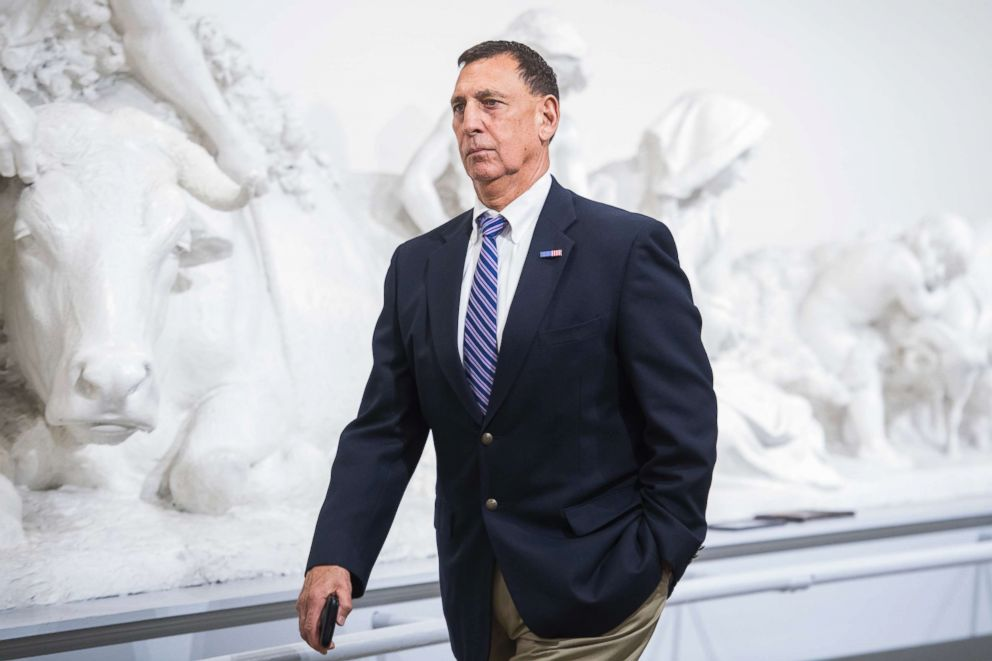PHOTO: Rep. Frank LoBiondo, R-N.J., makes his way to a meeting of the House Republican Conference where Speaker Paul Ryan, R-Wis., announced the vote for American Health Care Act had been canceled, March 24, 2017.