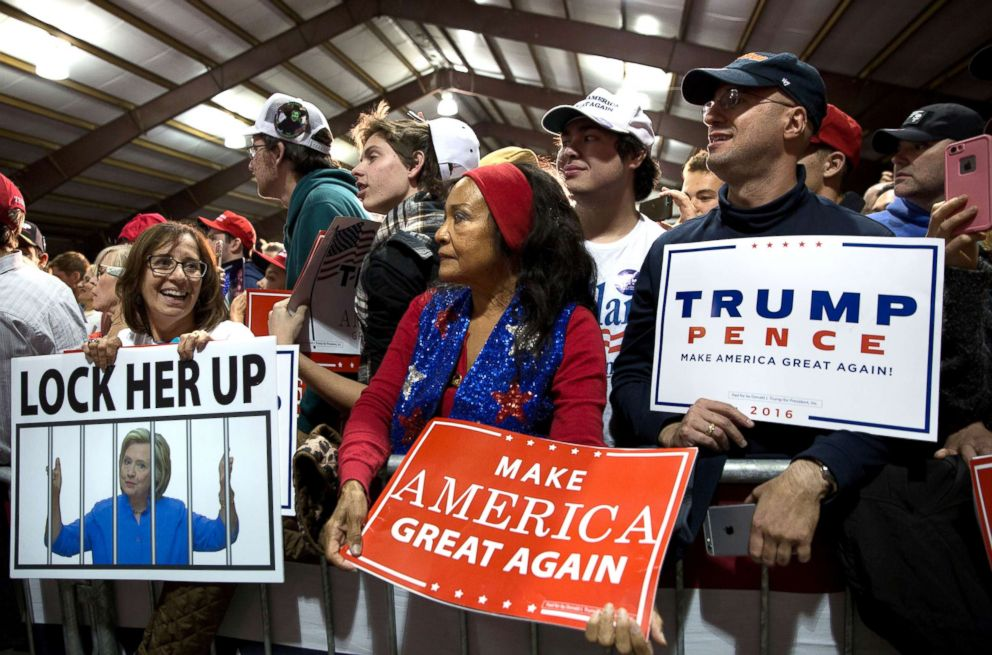 PHOTO: View of supporters with signs as they attend Donald Trumps campaign rally at the Loudoun Fairgrounds in Leesburg, Va., Nov. 7, 2016.