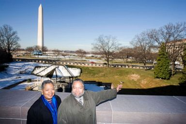 PHOTO: Director of the National Museum of African American History and Culture (NMAAHC), Lonnie Bunch, with Deputy Director, Kinshasha Holman Conwill, view the site for the new museum on the National Mall.