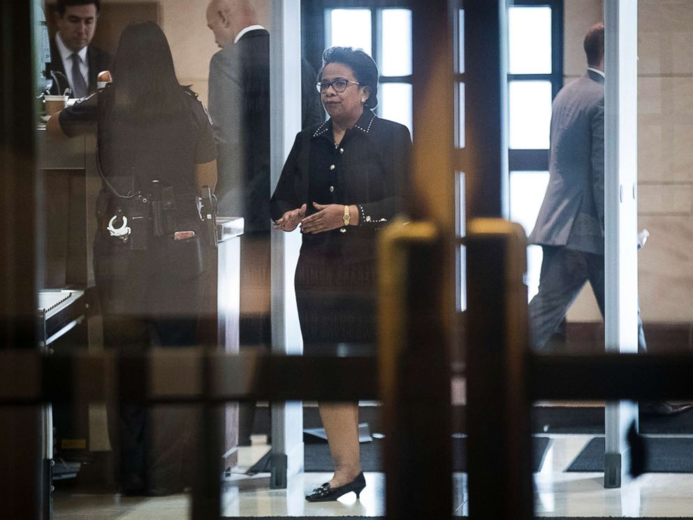 PHOTO: Former Attorney General Loretta Lynch arrives at the U.S. Capitol on her way to meet with members of the House Intelligence Committee, Oct. 20, 2017 in Washington, D.C.