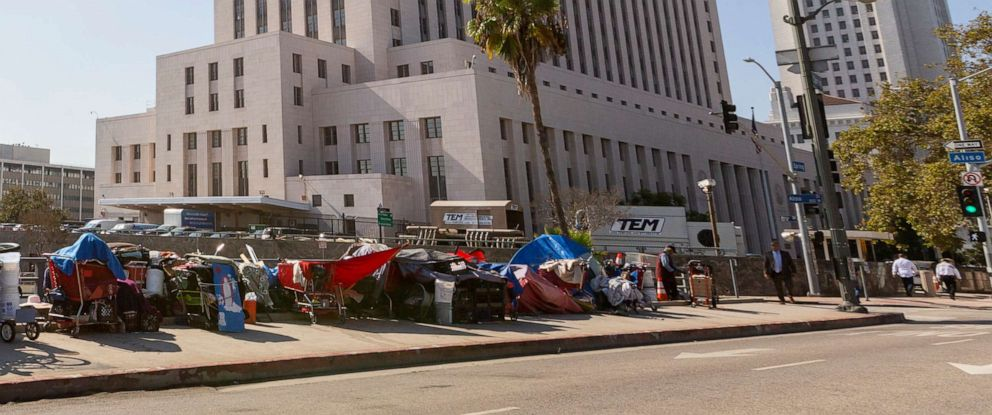 PHOTO: Homeless camp in tents in downtown Los Angeles, Sept. 17, 2019.