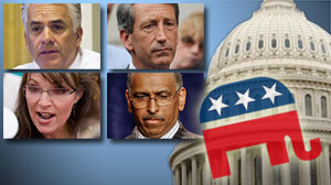 Photo: The Republican Partyâ??s Lost Six Months: GOP still searching for identity, path forward after half year in political wilderness: John Ensign, Mark Sanford, Sarah Palin, Michael Steele