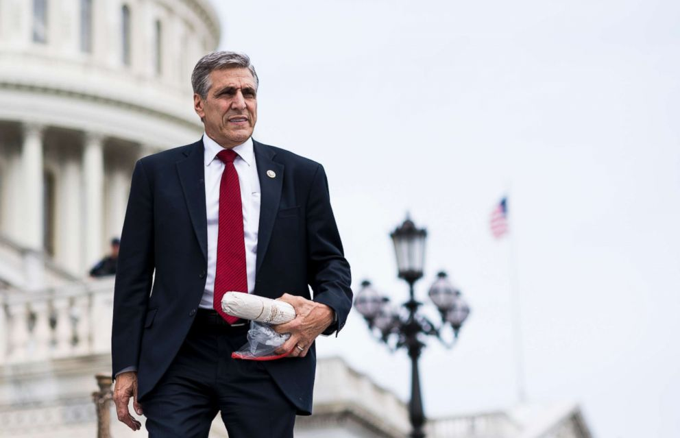 PHOTO: Rep. Lou Barletta, R-Pa., walks down the House steps at the Capitol after a series of votes on repeal and replace of Obamacare, May 4, 2017, in Washington.
