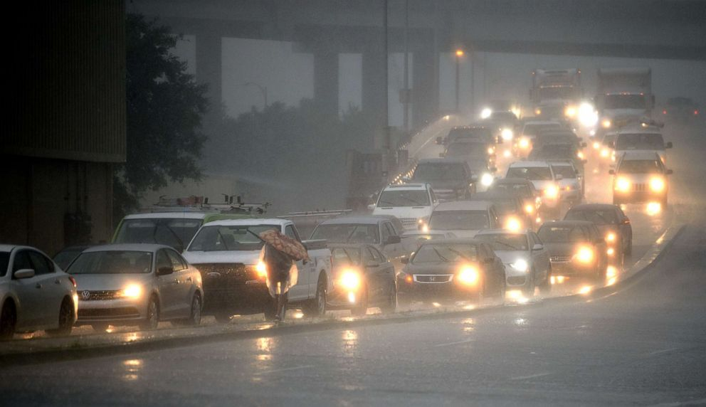 PHOTO: Traffic backs up as rain come down at Airline Drive and S. Carrollton Ave. in New Orleans, as severe thunderstorms cause street flooding, July 10, 2019.