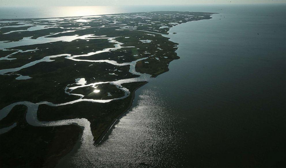 PHOTO: Coastal waters flow through wetlands on Aug. 25, 2015 in Saint Bernard Parish, La.