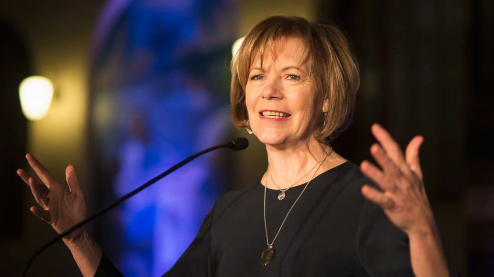In this Jan. 10, 2015 file photo, Minnesota Democratic Lt. Gov. Tina Smith speaks to attendees at the North Star Ball in St. Paul, Minn. Smith is a possible contender to run for Minnesota governor in 2018 to replace Gov. Mark Dayton, who won't seek a third term.