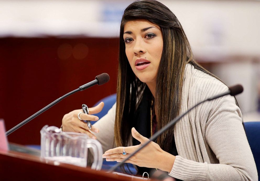 Nevada Assemblywoman Lucy Flores presents a measure in committee at the Legislative Building in Carson City, Nev., May 10, 2013.