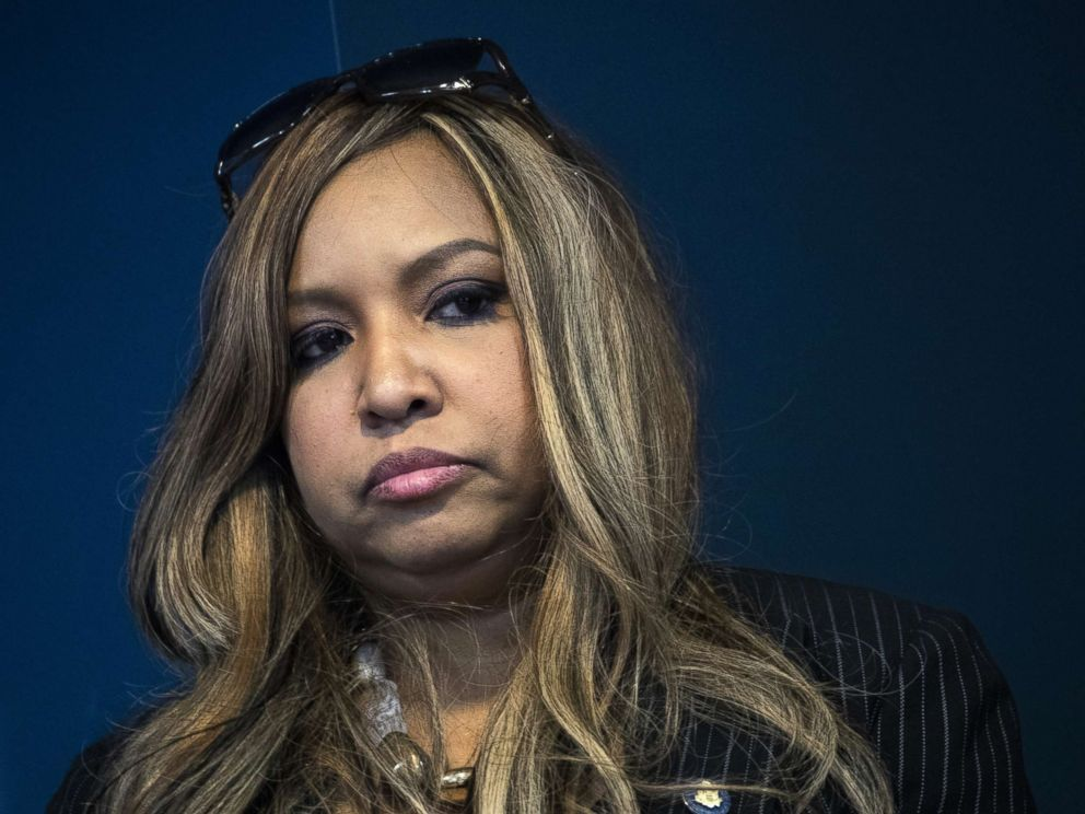 PHOTO: Lynne Patton, event planner and Head of Region II for HUD, looks on during a press conference at the Jacob Javits Federal Building, Jan. 31, 2019, in New York City.