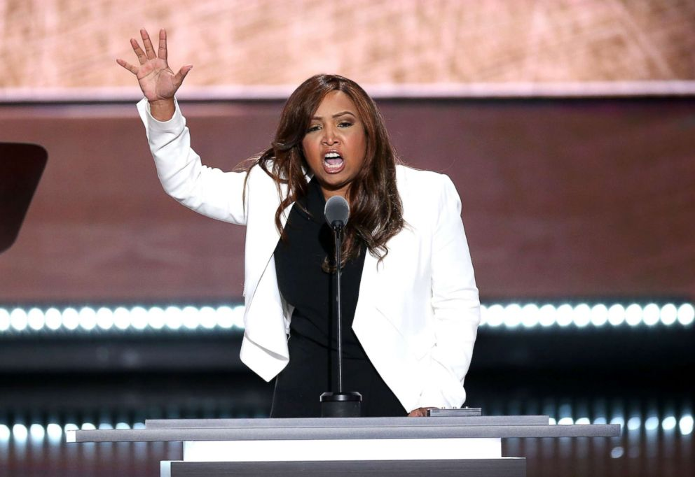 PHOTO: Lynne Patton, vice president of the Eric Trump Foundation, speaks during the Republican National Convention in Cleveland,July 20, 2016.