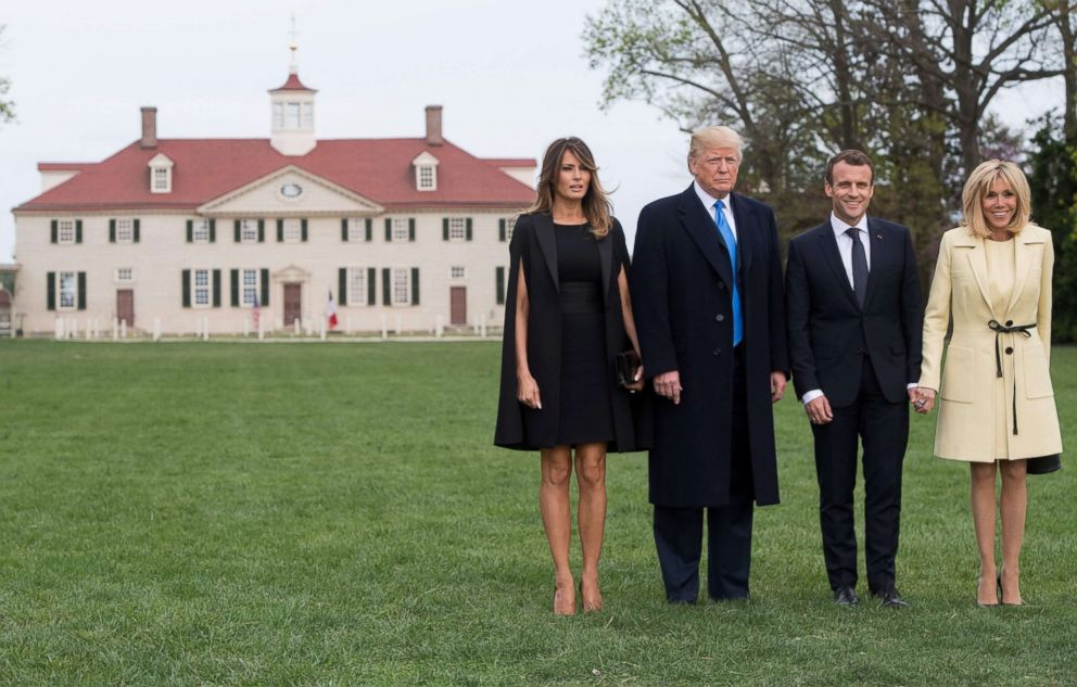 PHOTO: First lady Melania Trump, President Donald Trump, French President Emmanuel Macron and his wife first lady Brigitte Macron arrive at Mount Vernon, the estate of the first US President George Washington, in Mount Vernon, Va., April 23, 2018.