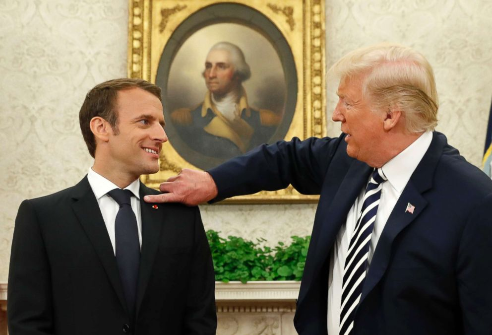 Image result for trump kiss macron