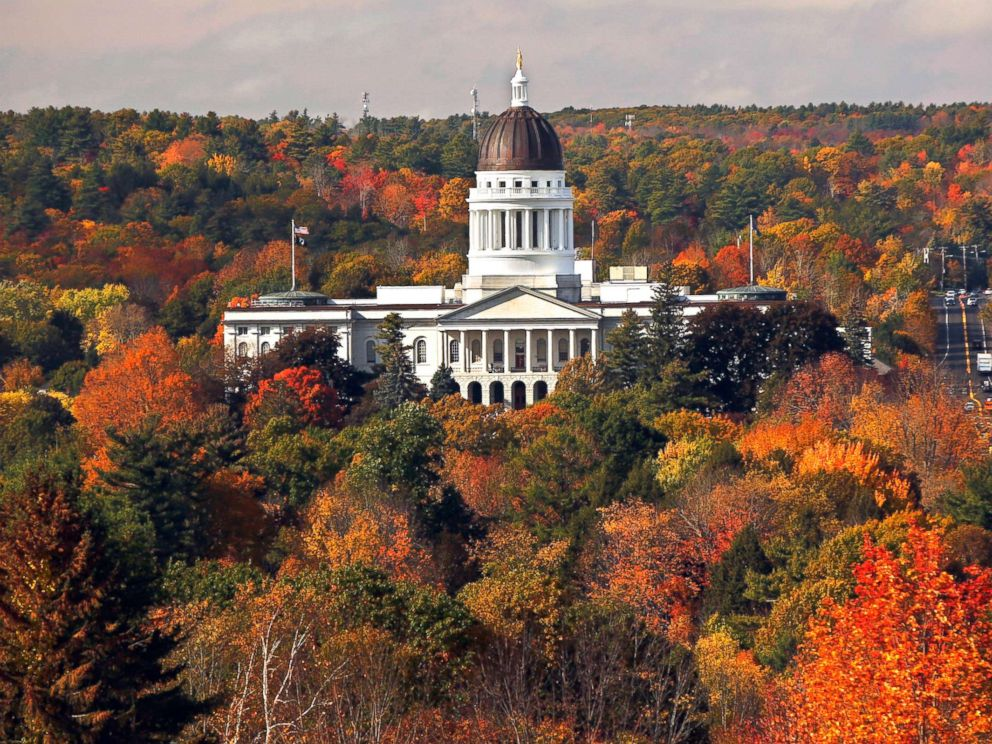 PHOTO: The State House is surrounded by fall foliage, Oct. 23, 2017, in Augusta, Maine.